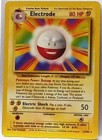 HOT ONE! Electrode 21/102 Rare Pokemon Base Set TCG VERY Sharp Card NM+, CardboardandCoins.com