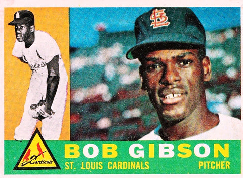 1960 TOPPS BOB GIBSON #73 SET BREAK CENTERED CARDINALS HOF PITCHER 2ND YEAR !!!
