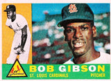 1960 TOPPS BOB GIBSON #73 SET BREAK CENTERED CARDINALS HOF PITCHER 2ND YEAR !!!, CardboardandCoins.com