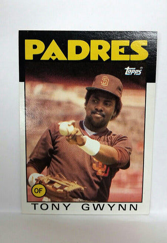 Gwynn, Tony, Padres, San Diego, HOF, Batting Average, Baseball Cards, Topps, 1986