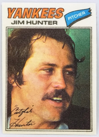 "1977 TOPPS ""CLOTH"" JIM HUNTER HOF PACK FRESH CLEAN CARD YANKEES, A'S CATFISH"