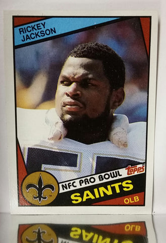 Rickey Jackson, Saints, New Orleans, OLB, Linebacker, Sacks, defense, quarterback, rush, pass, block, interception, NFL, Topps, Football Card, 1984