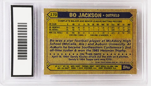 1987 Topps 170 Bo Jackson Rookie Card Graded 10 Mint Rc Royals Baseball And Nfl Football Star