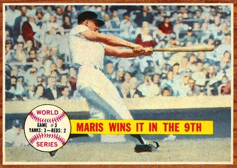 "1962 TOPPS #234 ROGER MARIS WORLD SERIES ""MARIS WINS IT IN THE 9TH"" CLEAN NM !!, CardboardandCoins.com"