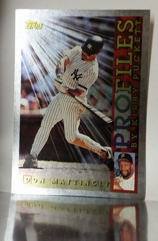 Mattingly, Don, Puckett, Kirby, Profiles, Yankees, New York, Hits, Average, HOF, Hits, Average, Baseball Cards, Topps, 1996