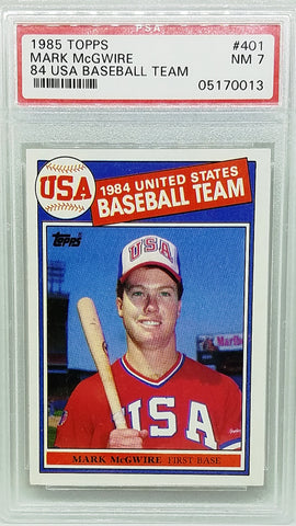 1985 TOPPS PSA 7 MARK MCGWIRE ROOKIE! #401 '84 USA OLYMPIC BASEBALL TEAM NM RC!