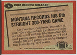 Montana, Joe, Record Breaker, Topps, Football, San Francisco, 49ers, Super Bowl, HOF, MVP, Yards, NFL, Football Cards