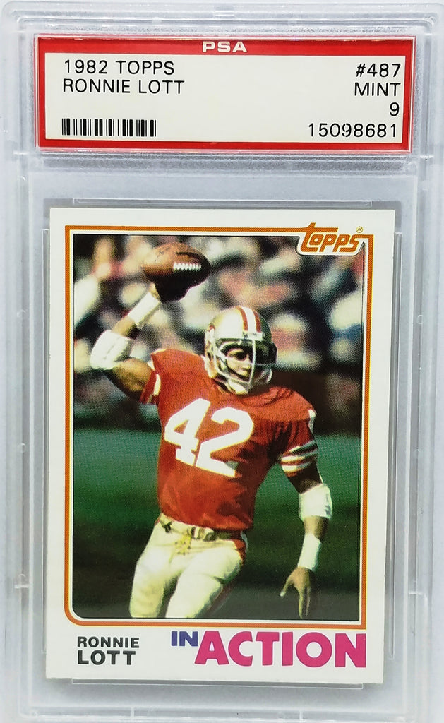 18ad61c60 1982 TOPPS  487 RONNIE LOTT ROOKIE CARD PSA 9 MINT IN ACTION HOF DEFEN –  CardboardandCoins.com