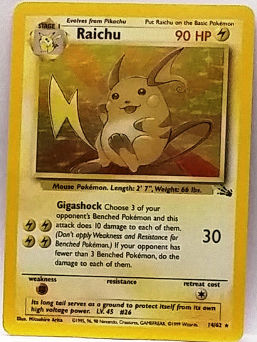 NICE HOLO! Raichu 14/62 Holo Rare Pokemon Fossil Set TCG VERY Sharp Pokemon Card NM+, Free Ship, CardboardandCoins.com