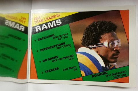 Los Angeles Rams Leaders, Eric Dickerson, Rookie Card, Rushing, Running Back, RB, Rams, Los Angeles, Yards, Receiving, NFL, Topps, Football Card, 1984, RC, Record