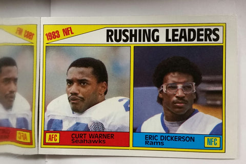 Eric Dickerson, Rookie, Rushing Leaders, Curt Warner, Topps, Running Back, Los Angeles, Rams, HOF, NFL, Topps, Football Card