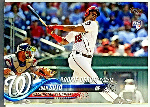 Juan Soto Rookie Debut 2018 Topps Update #US104 Nationals Young Star!