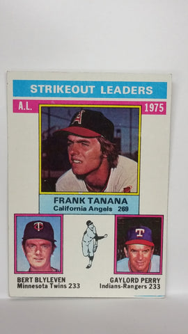 1976 Topps # 204 1975 American League Strikeout Leaders (Tanana/Blyleven/Perry), CardboardandCoins.com