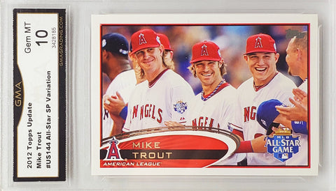 Trout, Rookie, Topps, Update, Short Print, SP, SSP, Graded 10, Gem Mint, Laughing with Teammates, Angels, MVP, Home Runs, Baseball Cards