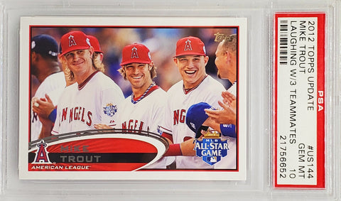 Trout, Rookie, Topps, Update, Short Print, SP, SSP, Graded, PSA 10, Gem Mint, Laughing with Teammates, Angels, MVP, Home Runs, Baseball Cards