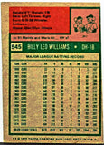 1975 Topps # 545 Billy Williams, DH-1B, Oakland A's, Former Cub