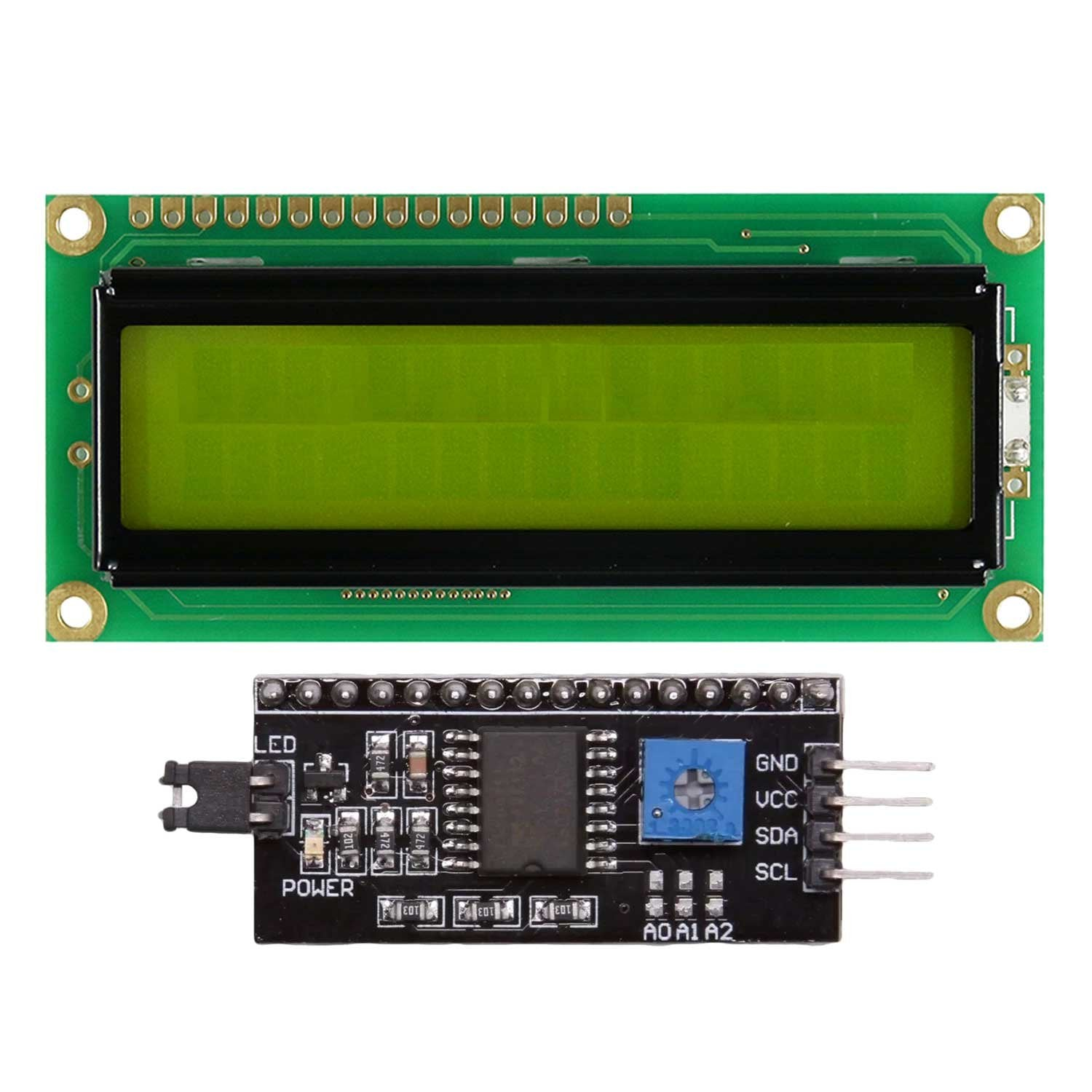 (16x2) Green LCD Display with I2C/IIC interface