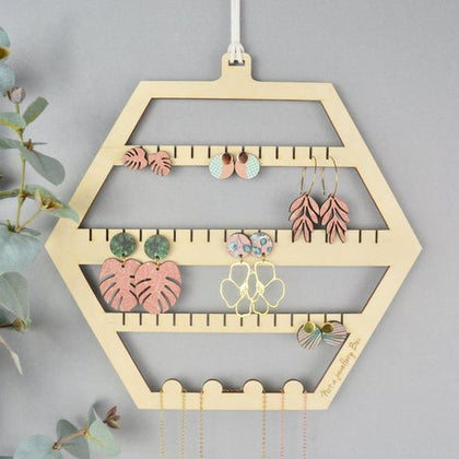 Basic Hexagon Design based Earrings And Jewelry Hanging Stands