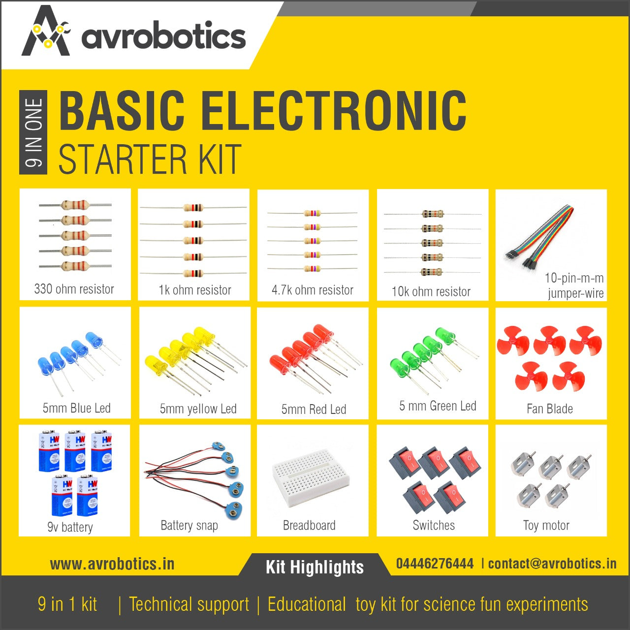 9 in 1 Basic Electronics Starter Kit