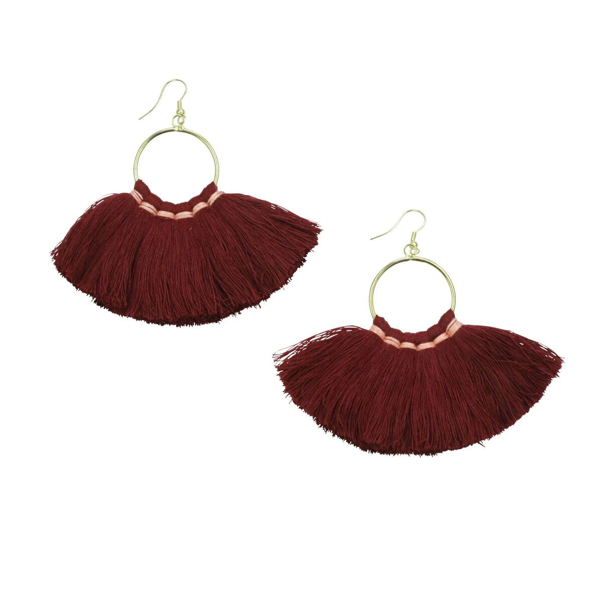 FRINGE EARRINGS - WINE