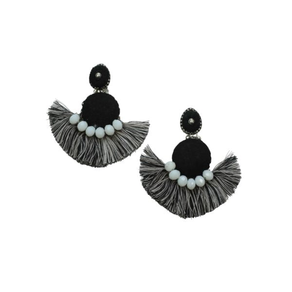 ROUND FRINGE EARRINGS - BLACK & WHITE
