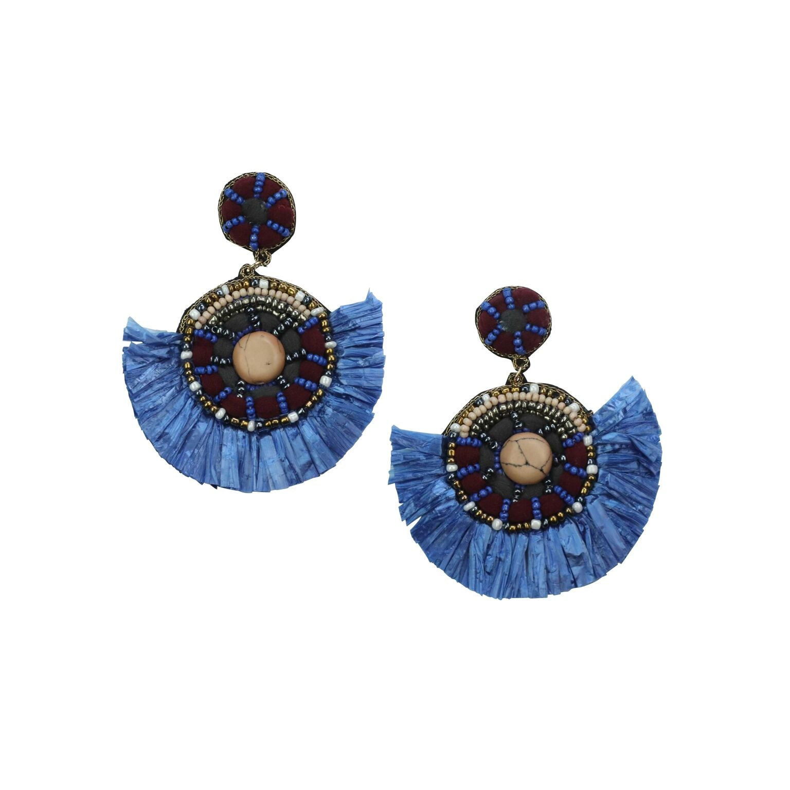 FRINGE EARRINGS - BLUE & WINE