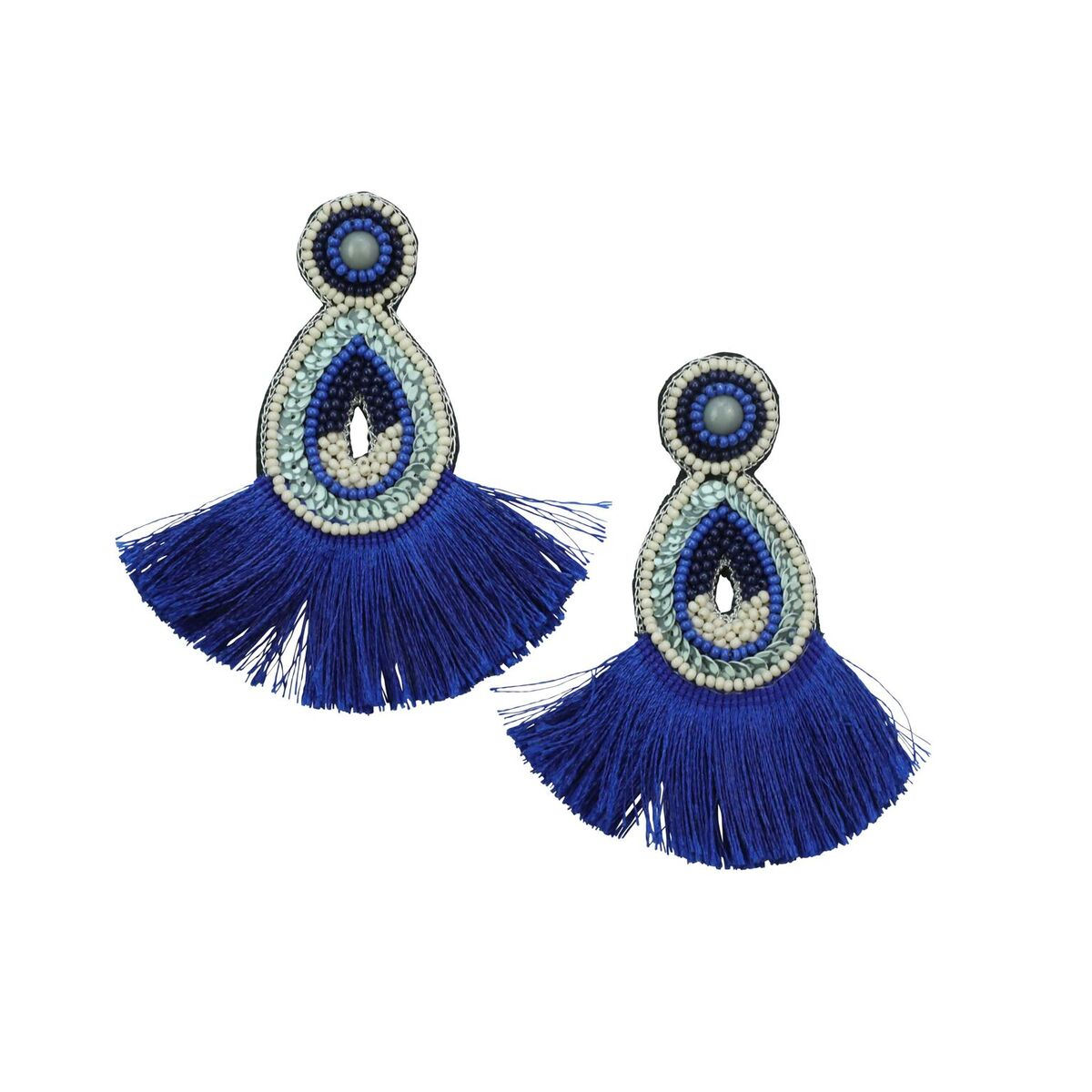 BEADS & FRINGE EARRING - BLUE
