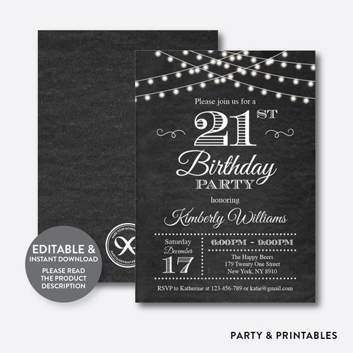 String Lights Adult Birthday Invitation / Editable / Instant Download (CAB.03)