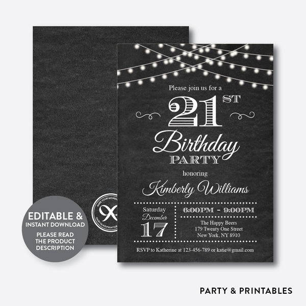 String Lights Adult Birthday Invitation / Editable / Instant Download (CAB.03), invitation - Party and Printables