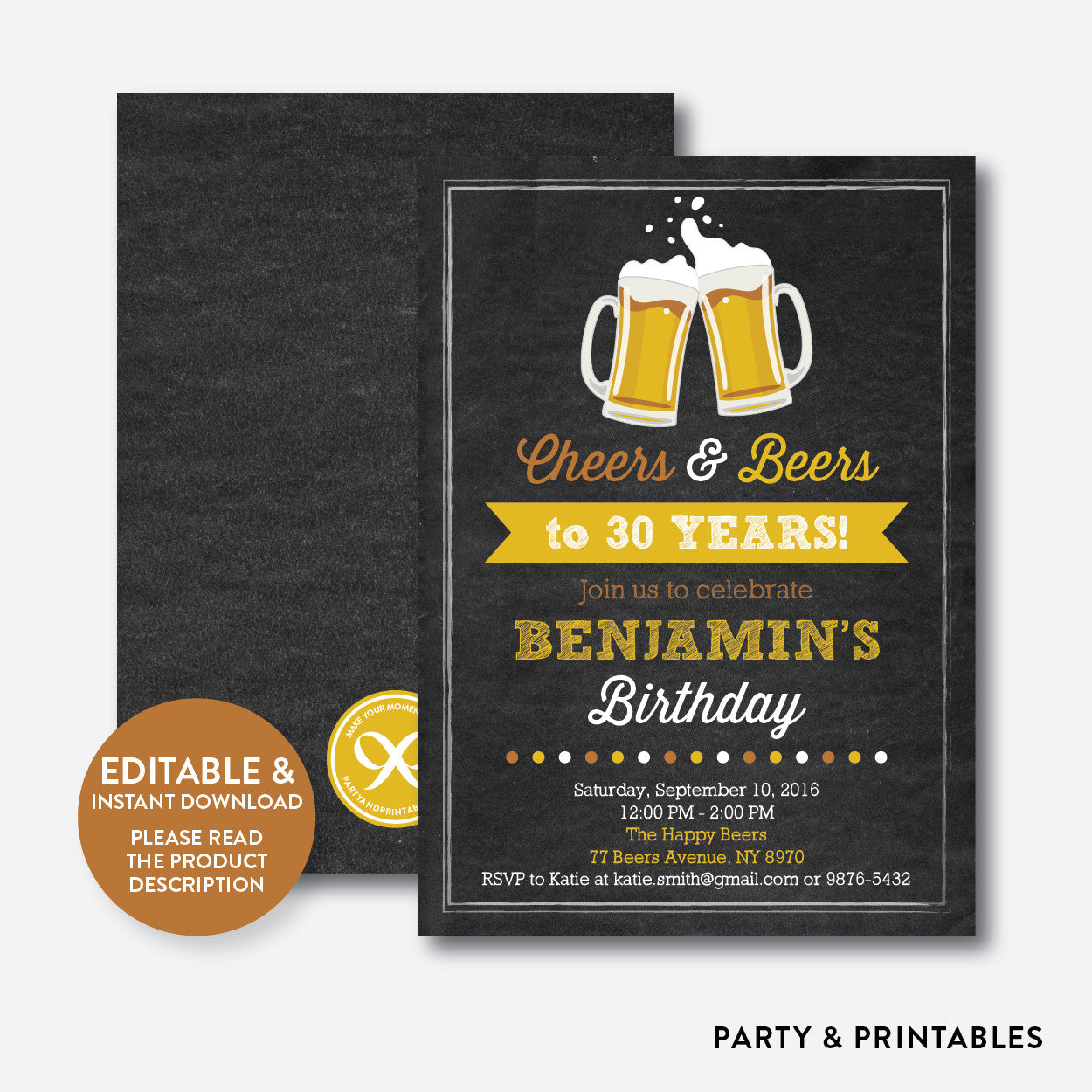 Cheers And Beers Adult Birthday Invitation Editable Instant - Editable birthday invitations for adults