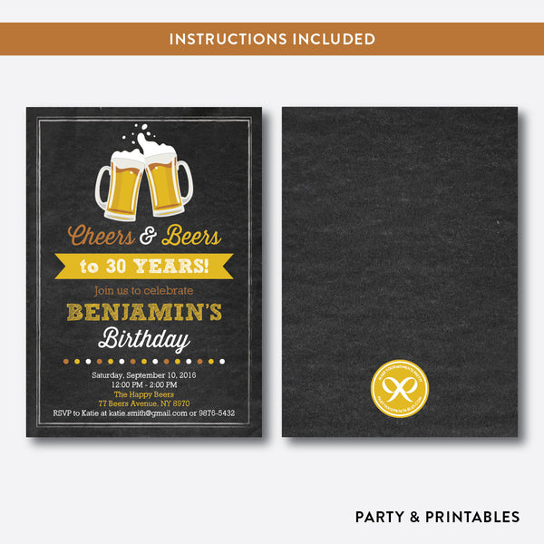 Cheers and Beers Adult Birthday Invitation / Editable / Instant Download (CAB.04), invitation - Party and Printables