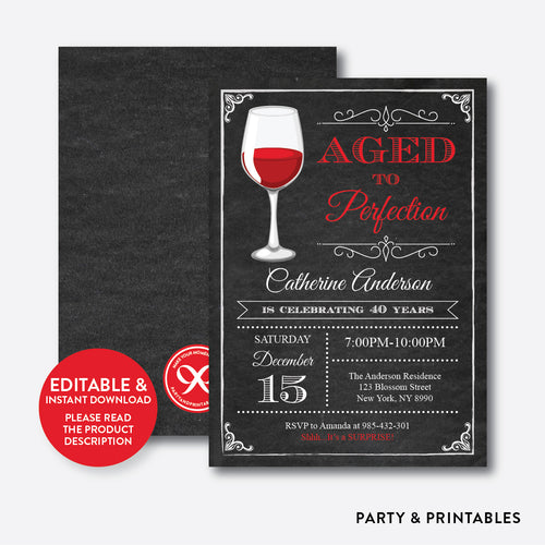 Aged To Perfection Adult Birthday Invitation / Editable / Instant Download (CAB.05)