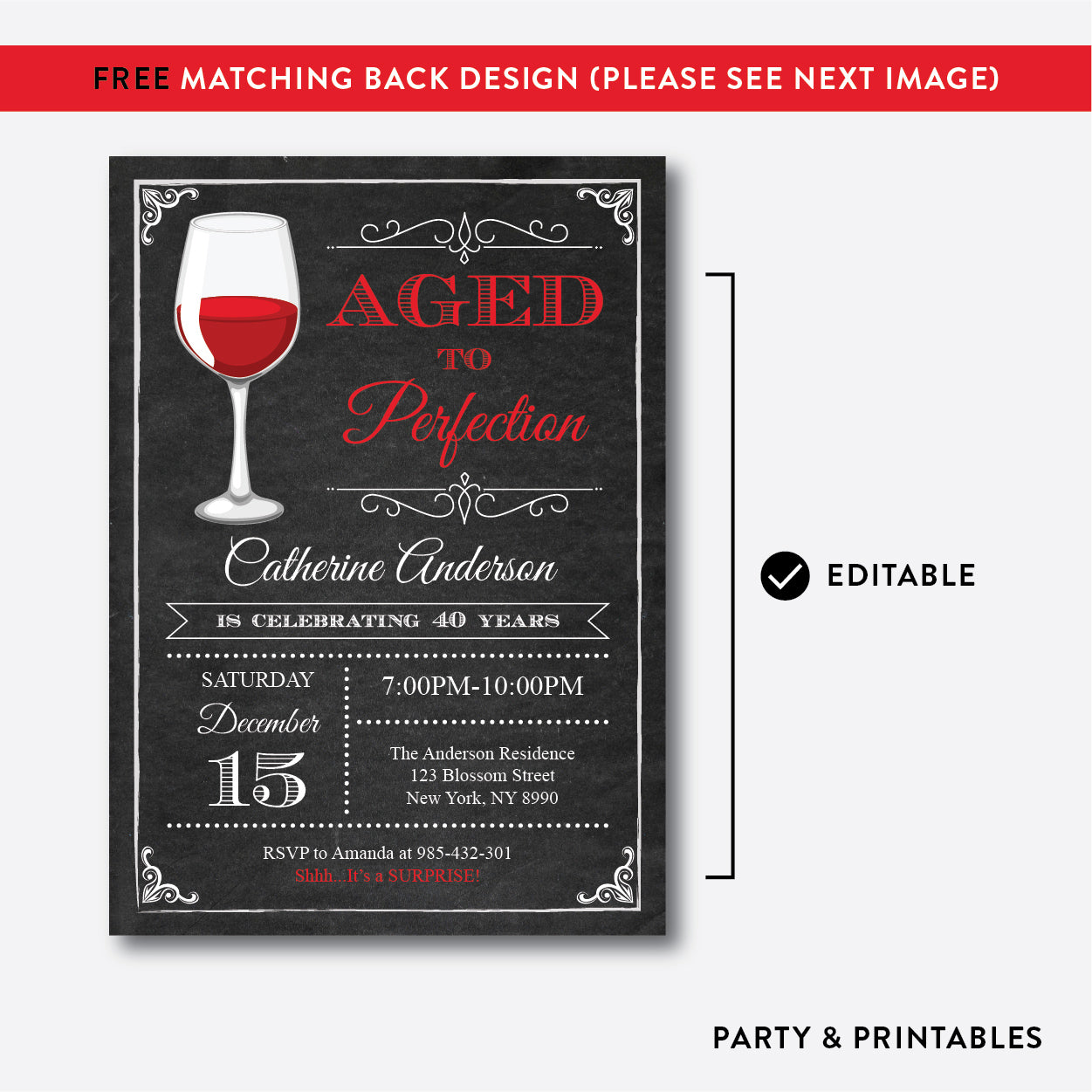 Aged To Perfection Adult Birthday Invitation / Editable / Instant Download (CAB.05), invitation - Party and Printables