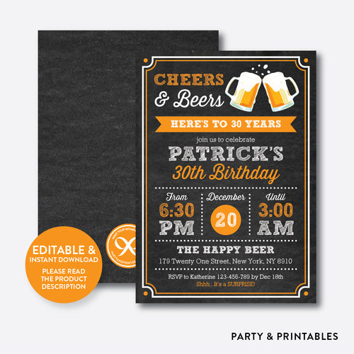 Cheers and Beers Adult Birthday Invitation / Editable / Instant Download (CAB.06)