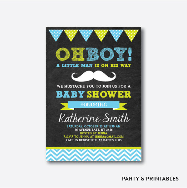 Mustache Chevron Chalkboard Baby Shower Invitation / Personalized (CBS.01), invitation - Party and Printables