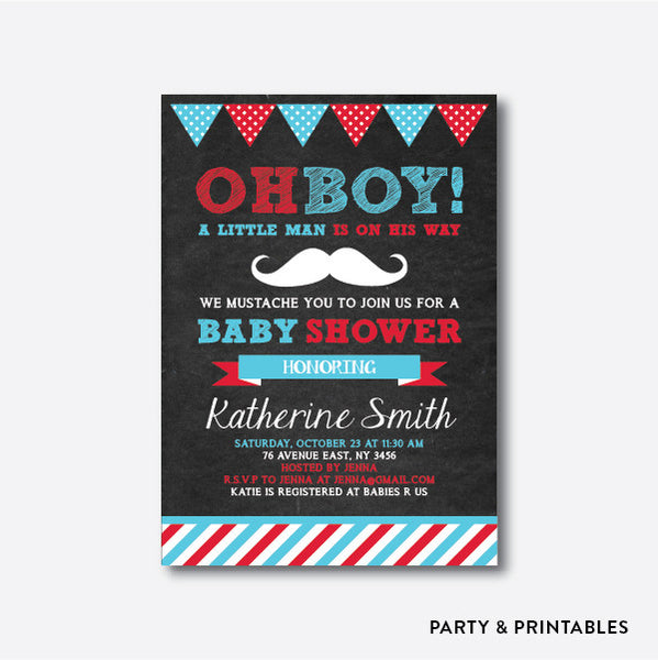 Mustache Stripes Chalkboard Baby Shower Invitation / Personalized (CBS.03), invitation - Party and Printables