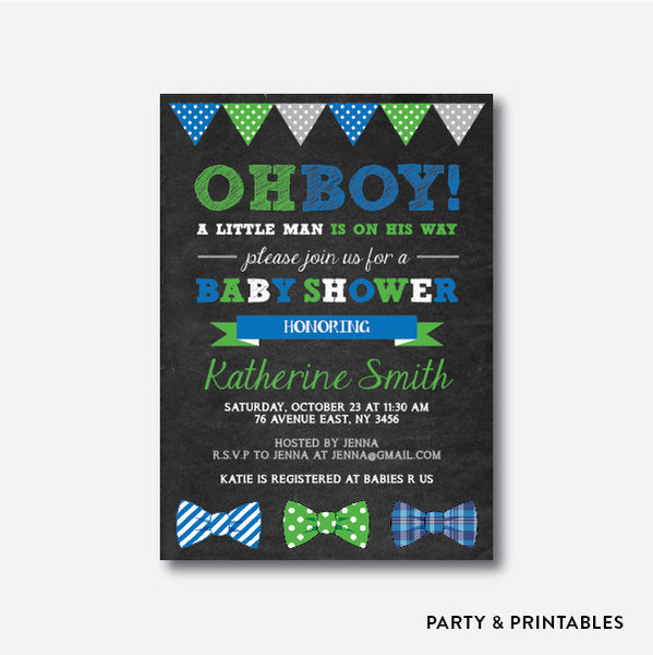 Bow Ties Chalkboard Baby Shower Invitation / Personalized (CBS.04), invitation - Party and Printables