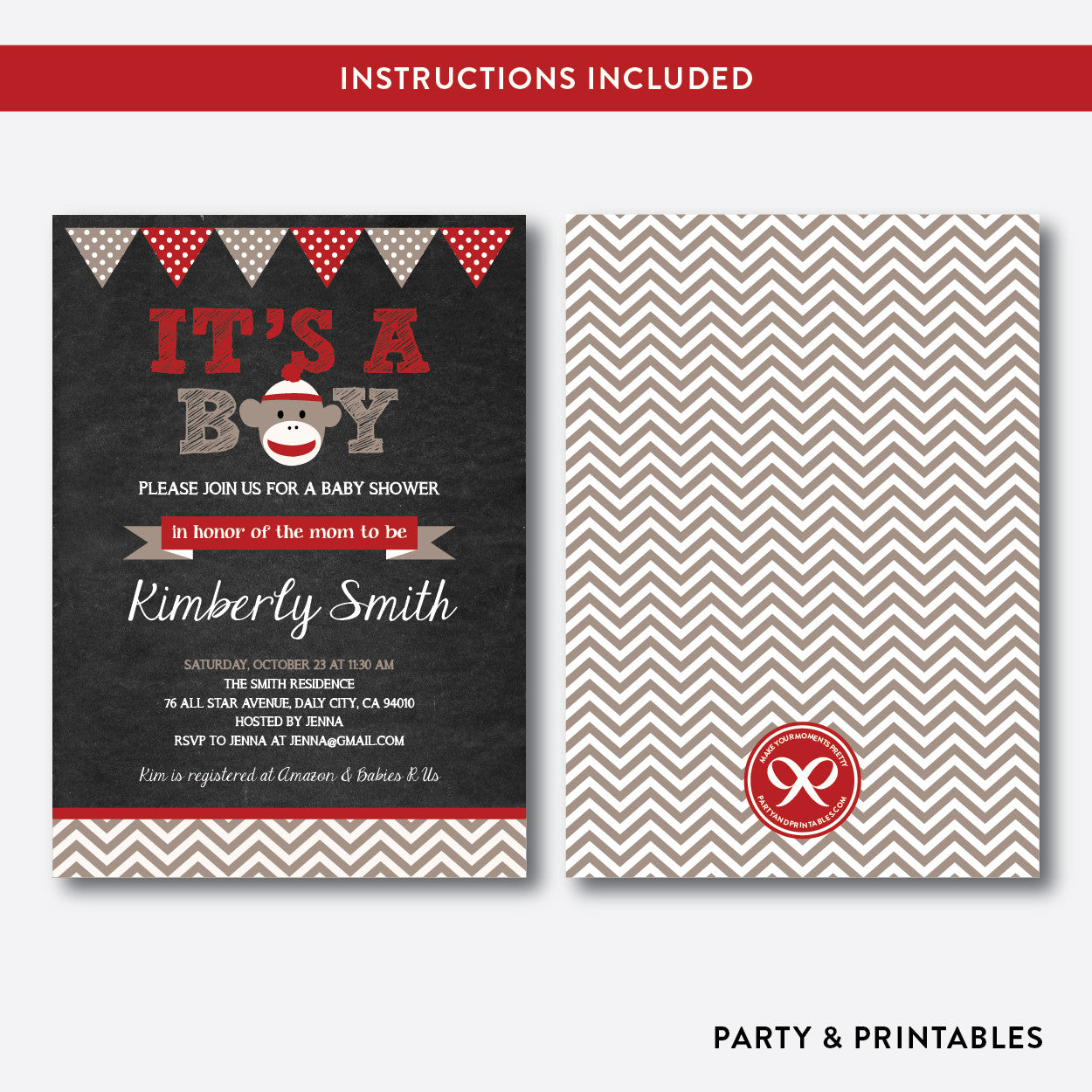 Sock Monkey Chalkboard Baby Shower Invitation / Editable / Instant Download (CBS.05), invitation - Party and Printables
