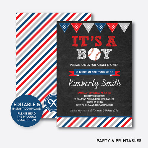 Baseball Chalkboard Baby Shower Invitation / Editable / Instant Download (CBS.06)