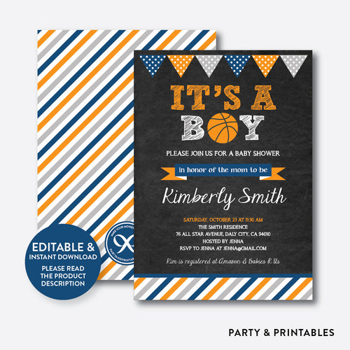 Basketball Chalkboard Baby Shower Invitation / Editable / Instant Download (CBS.07)