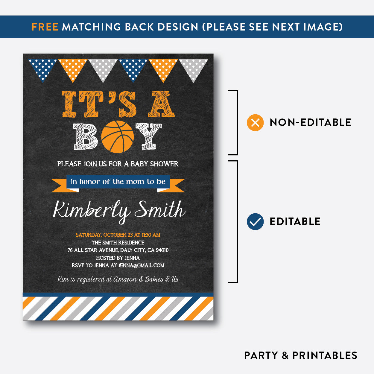 Basketball Chalkboard Baby Shower Invitation / Editable / Instant Download (CBS.07), invitation - Party and Printables