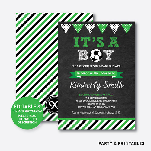 Soccer Chalkboard Baby Shower Invitation / Editable / Instant Download (CBS.08)