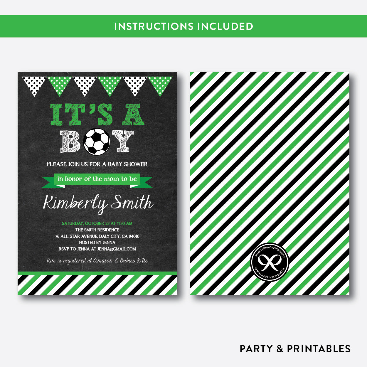 Soccer Chalkboard Baby Shower Invitation / Editable / Instant Download (CBS.08), invitation - Party and Printables