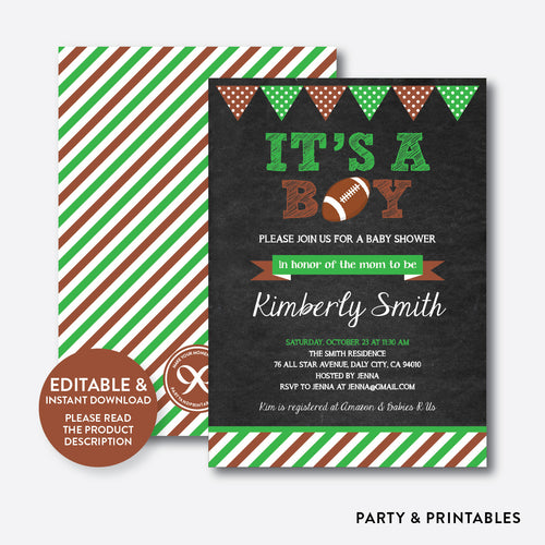 American Football Chalkboard Baby Shower Invitation / Editable / Instant Download (CBS.09)