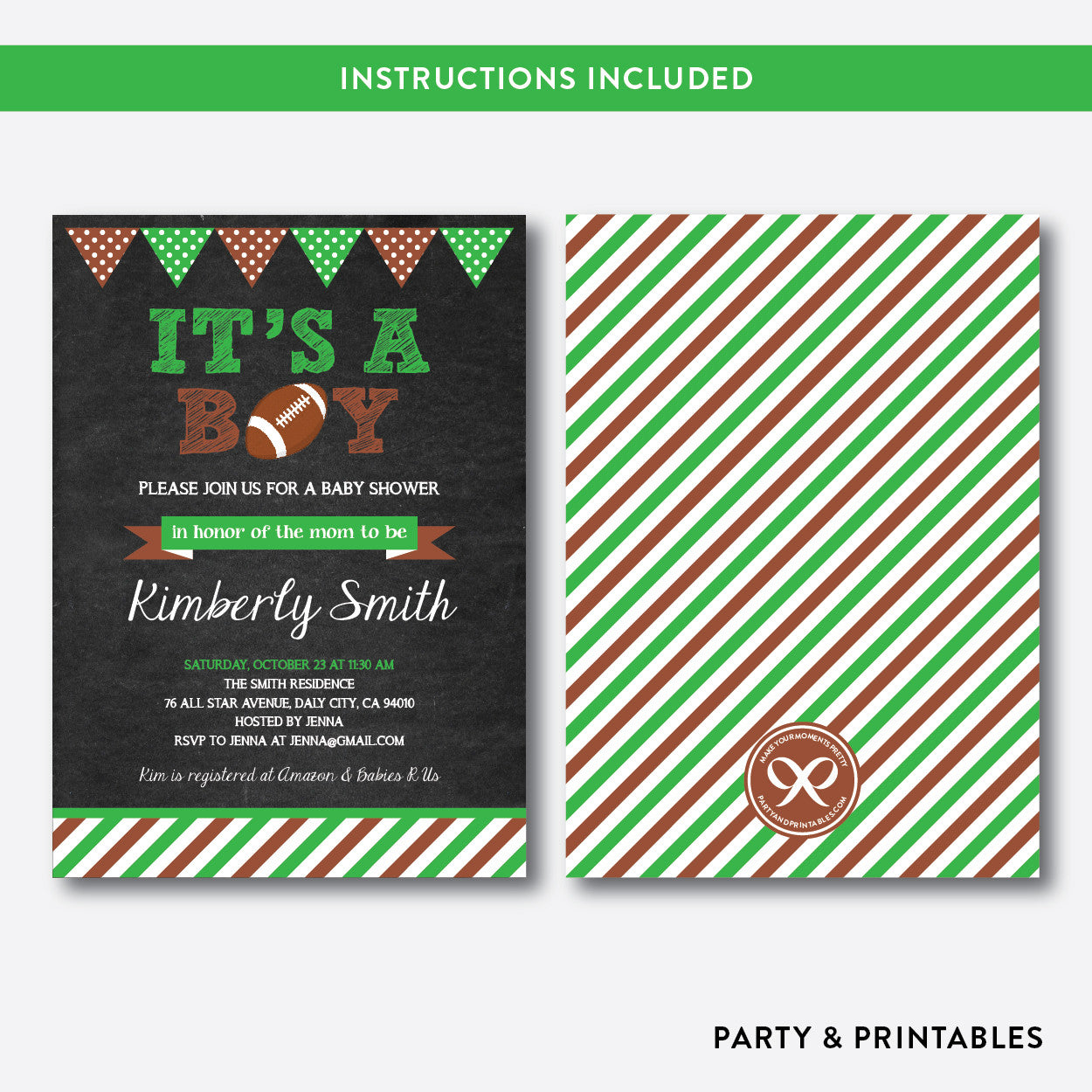 American Football Chalkboard Baby Shower Invitation / Editable / Instant Download (CBS.09), invitation - Party and Printables