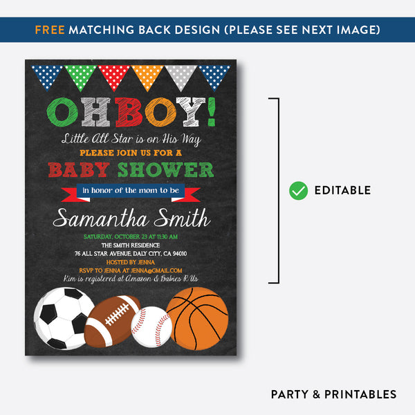 All Star Chalkboard Baby Shower Invitation / Editable / Instant Download (CBS.10), invitation - Party and Printables