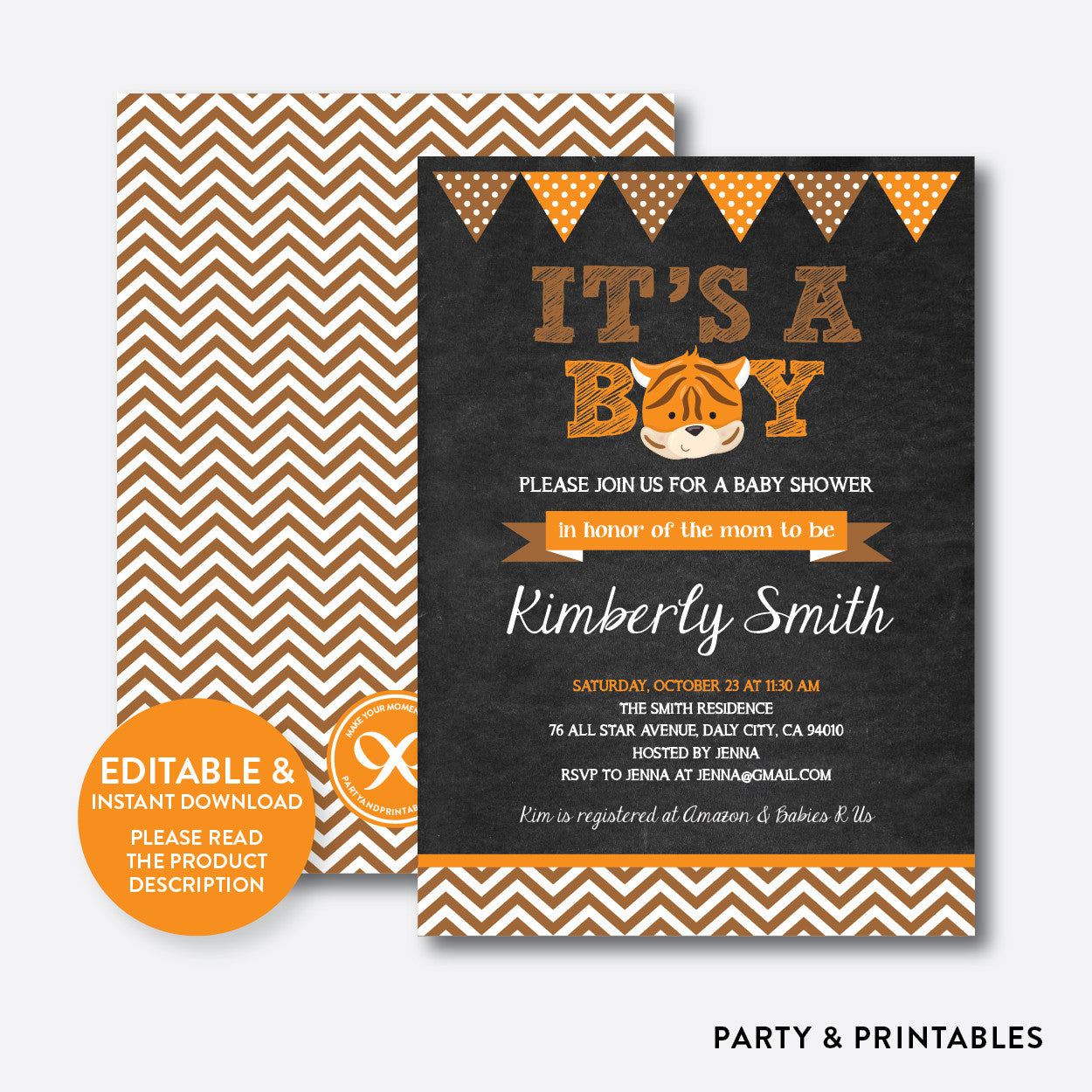 Baby Tiger Chalkboard Baby Shower Invitation / Editable / Instant Download (CBS.11), invitation - Party and Printables