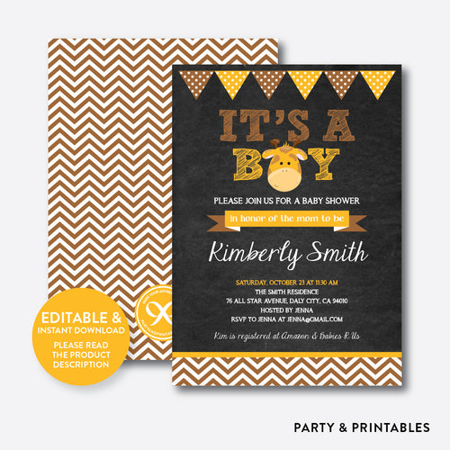 Baby Giraffe Chalkboard Baby Shower Invitation / Editable / Instant Download (CBS.12)