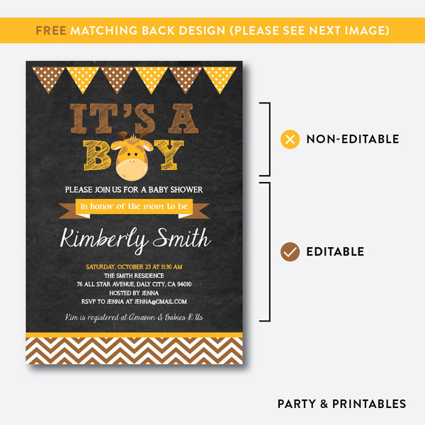 Baby Giraffe Chalkboard Baby Shower Invitation / Editable / Instant Download (CBS.12), invitation - Party and Printables