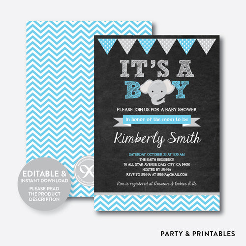 Baby Elephant Chalkboard Baby Shower Invitation / Editable / Instant Download (CBS.13)